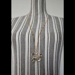Ann Taylor Crystal Pendant Flower Necklace